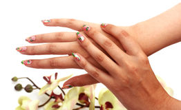 De handen van de vrouw met manicure Stock Afbeelding