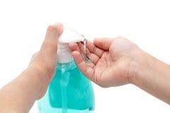 De handen van de was met vloeibare zeep Royalty-vrije Stock Afbeelding