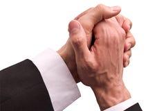 De handen van de zakenman samen met een hoop Royalty-vrije Stock Fotografie