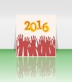 de handen van 2016 en van mensen geplaatst symbool Royalty-vrije Stock Afbeeldingen