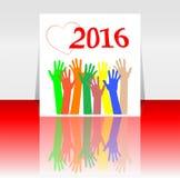 de handen van 2016 en van mensen geplaatst symbool De inschrijving 2016 in oosterse stijl op achtergrond Stock Afbeelding