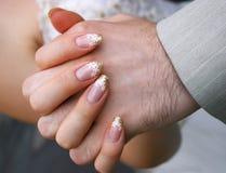 De handen van het huwelijk Stock Afbeelding