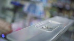 De handen van het koper en verkopersclose-up stock footage