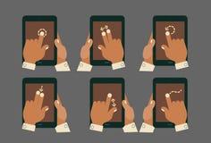 De handen van het Multitouchgebaar met tabletmodellen Stock Foto's