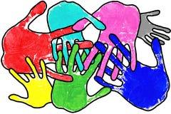 De handen van het pop-art op wit Stock Afbeelding