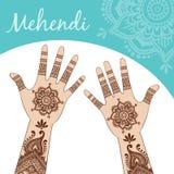 De handen van vrouwen, palmen omhoog Mehendi Stock Foto's