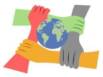 De handen verenigden de aarde Stock Foto's