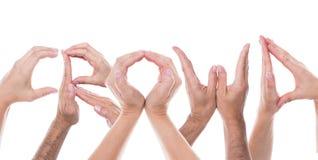 De handen vormen de woordmenigte Royalty-vrije Stock Afbeelding