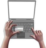 De handen winkelen online creditcardlaptop computer Royalty-vrije Stock Fotografie