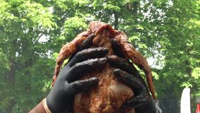 De handen zetten gehele kip op staalspit voor baksel bij de grill Handbediend schot stock video