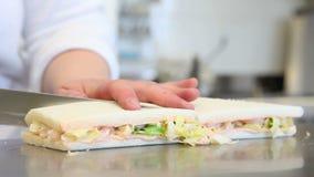 De handenchef-kok bereidt sandwiches voor stock footage