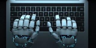 De Handennotitieboekje van de Humanoidrobot het Typen vector illustratie
