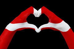 De handenvlag van Denemarken, vormt een hart Concept het symbool van het land, op zwarte wordt geïsoleerd die Stock Foto