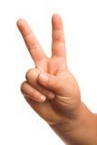 De handgebaar van de overwinning of van de vrede stock foto's