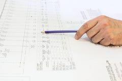De handingenieur ligt in het diagram. Royalty-vrije Stock Foto