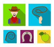 De handlasso, cowboy, hoef, ranselt Pictogrammen van de rodeo de vastgestelde inzameling in het vlakke Web van de de voorraadillu royalty-vrije illustratie