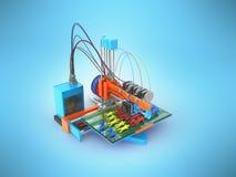 De handprothese van de conceptendruk bij het 3d printer 3d teruggeven op blauw Stock Foto