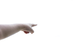 De handpunt van de mens aan hemel Stock Fotografie