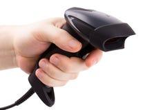 De handscanner van streepjescodes in mensenhand Stock Afbeelding