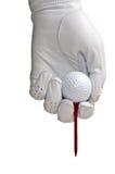 De Handschoen, de Bal en het T-stuk van het golf Royalty-vrije Stock Foto