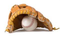 De handschoen en de bal van het honkbal Stock Afbeeldingen