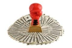 De handschoen en de dollars van de bokser. Royalty-vrije Stock Foto