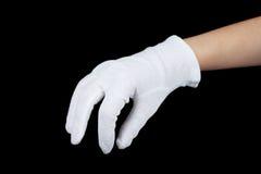 De handschoen van de doek op hand Stock Foto