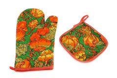 De handschoen van de keuken en een doek Royalty-vrije Stock Foto's