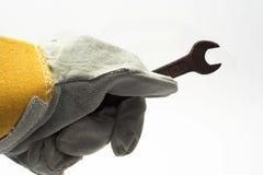 De handschoen van de moersleutel en van het leer Royalty-vrije Stock Afbeeldingen