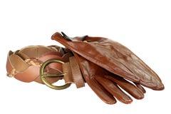 De Handschoenen en de Riem van het leer Royalty-vrije Stock Fotografie