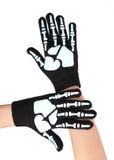 De handschoenen van Halloween met skeletaf:drukken Royalty-vrije Stock Fotografie