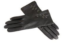 De handschoenen van vrouwen op een witte achtergrond. Royalty-vrije Stock Foto