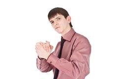 De handschok van de zakenman op isolate backout Stock Foto's