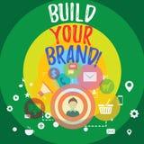 De handschrifttekst bouwt Uw Merk De conceptenbetekenis leidt of verbetert klanten tot kennis en adviezen van productfoto royalty-vrije illustratie