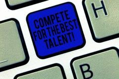 De handschrifttekst concurreert voor het Beste Talent E stock foto's