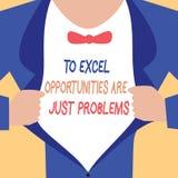 De handschrifttekst die aan Excel-Kansen schrijven is enkel Problemen Concept die de Vrees van de Comfortstreek de betekenen buit stock illustratie
