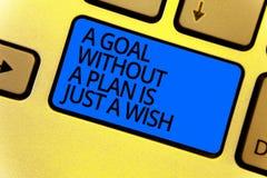 De handschrifttekst die een Doel zonder een Plan schrijven is enkel een Wens De conceptenbetekenis maakt strategieën om doelstell royalty-vrije stock foto's