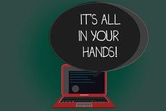 De handschrifttekst die het s schrijven is allen in Uw Handen Conceptenbetekenis houden wij de Teugel van onze Lot en het Lotscer stock illustratie
