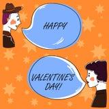 De handschrifttekst Gelukkig Valentine S is Dag Conceptenbetekenis wanneer de minnaars hun affectie met Getrokken groetenhand uit stock illustratie