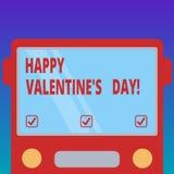 De handschrifttekst Gelukkig Valentine S is Dag Conceptenbetekenis wanneer de minnaars hun affectie met groeten Getrokken Vlakte  stock illustratie