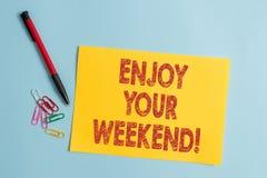 De handschrifttekst geniet van Uw Weekend Concept betekenen die iemand wensen dat aardig iets bij vakantievlakte zal gebeuren royalty-vrije stock afbeelding