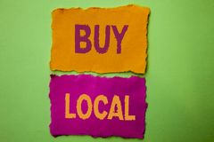 De handschrifttekst koopt Lokaal Het concept die Kopend Aankoop winkelt plaatselijk de Detailhandelaars betekenen die van Buyloca stock foto's