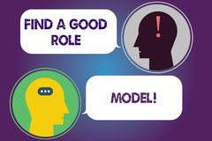 De handschrifttekst vindt een Goede Voorbeeldgever De conceptenbetekenis zoekt een uitstekend voorbeeld om mentorshipboodschapper stock illustratie