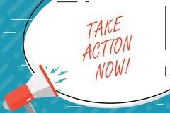 De handschrifttekst voert nu Actie Het concept die Dringend onmiddellijk Direct Bewegingsbegin betekenen begint royalty-vrije illustratie