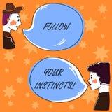 De handschrifttekst volgt Uw Instincten De conceptenbetekenis luistert aan uw intuïtie en luistert aan de uw harthand Getrokken M stock illustratie