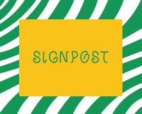 De handschrifttekst voorziet het teken die van de Conceptenbetekenis informatie dergelijke richting en afstand geven van wegwijze royalty-vrije illustratie