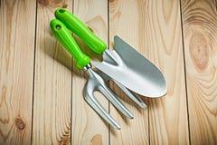 De handspade en vork van tuinhulpmiddelen op houten raad stock foto