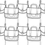 De handtas van maniervrouwen voor het kleuren van boek Zwart-wit naadloos patroon van modieuze toebehoren Vector vector illustratie