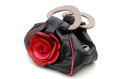 De handtas van vrouwen met roze bloem Stock Foto's