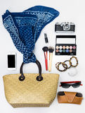 De handtas van vrouwen met toebehoren Stock Afbeeldingen